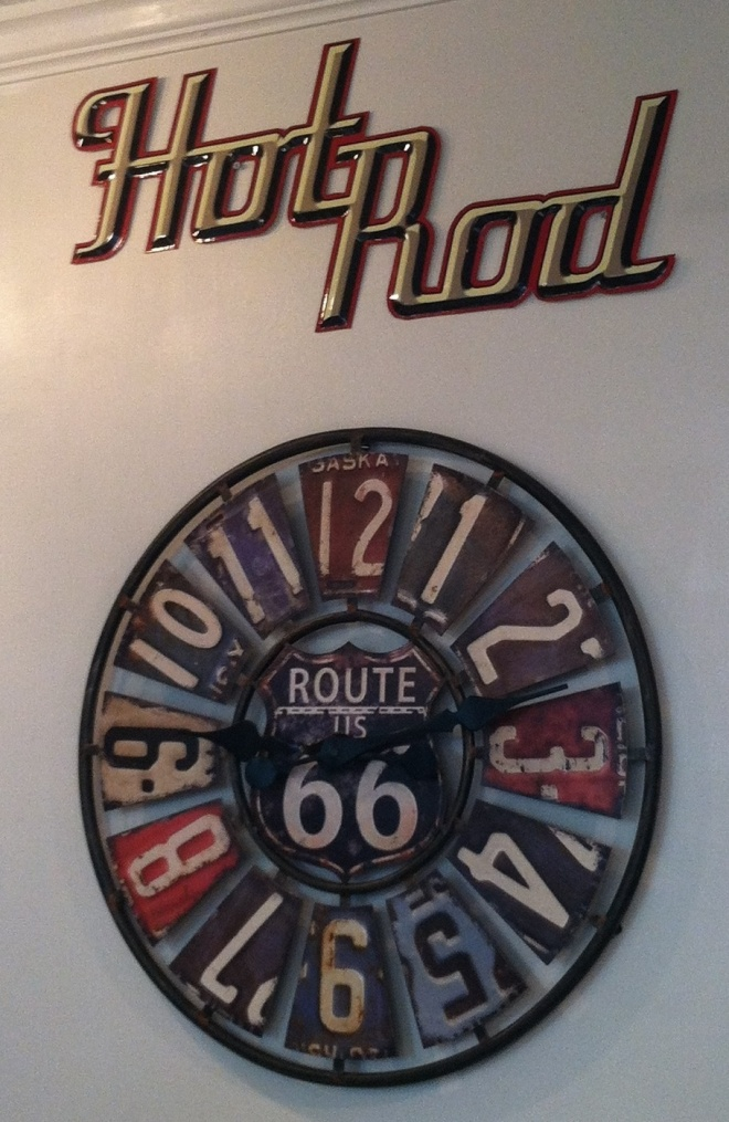 Wall clock made with old license plates