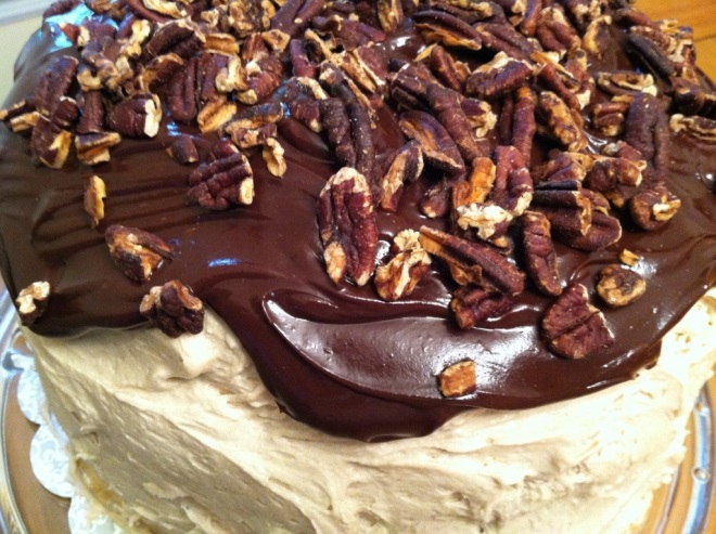 Caramel frosting all around this cake. Yum!