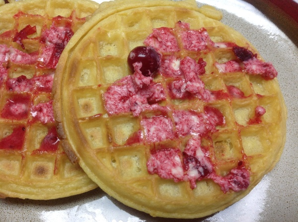 Waffles with cranberry butter