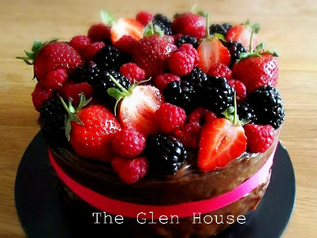 Chocolate Berry Celebration cake by The Glen House