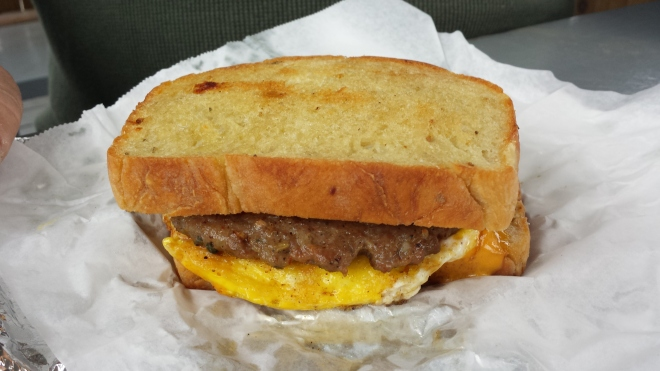 Riverside Grillshack - Egg and sausage sandwich on rosemary bread