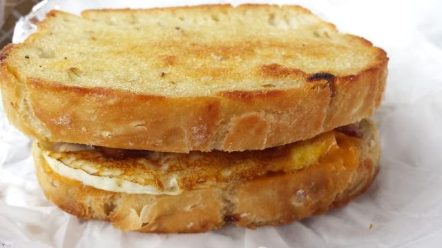 Riverside Grillshack - Egg and bacon sandwich on rosemary bread