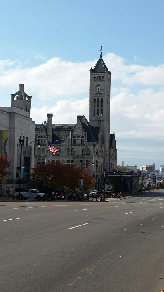 Veteran's Day parade about to start - Union Station Hotel Nashville in the background