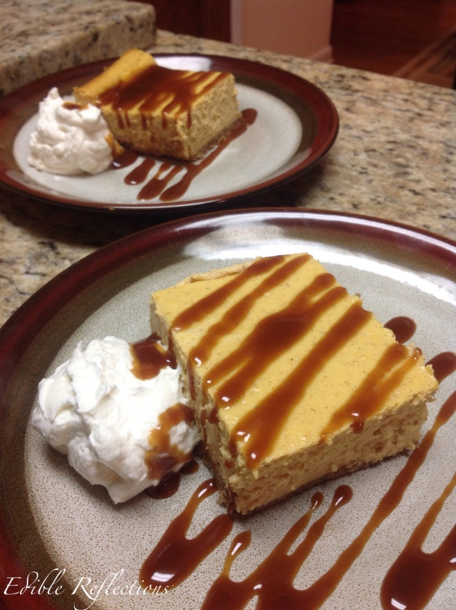 Pumpkin Cheesecake with homemade caramel sauce and whipped cream