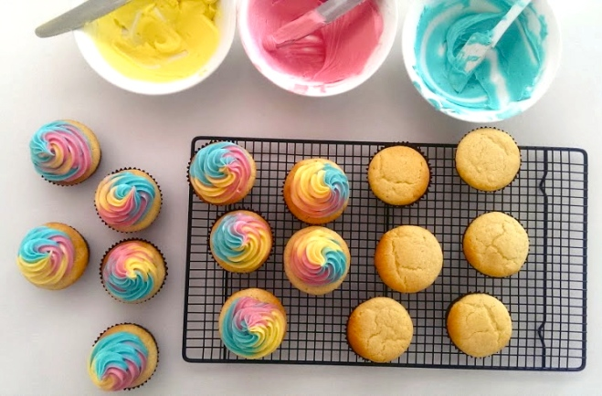 Vanilla Cupcakes with Rainbow Swirl Icing by Incrednibbles