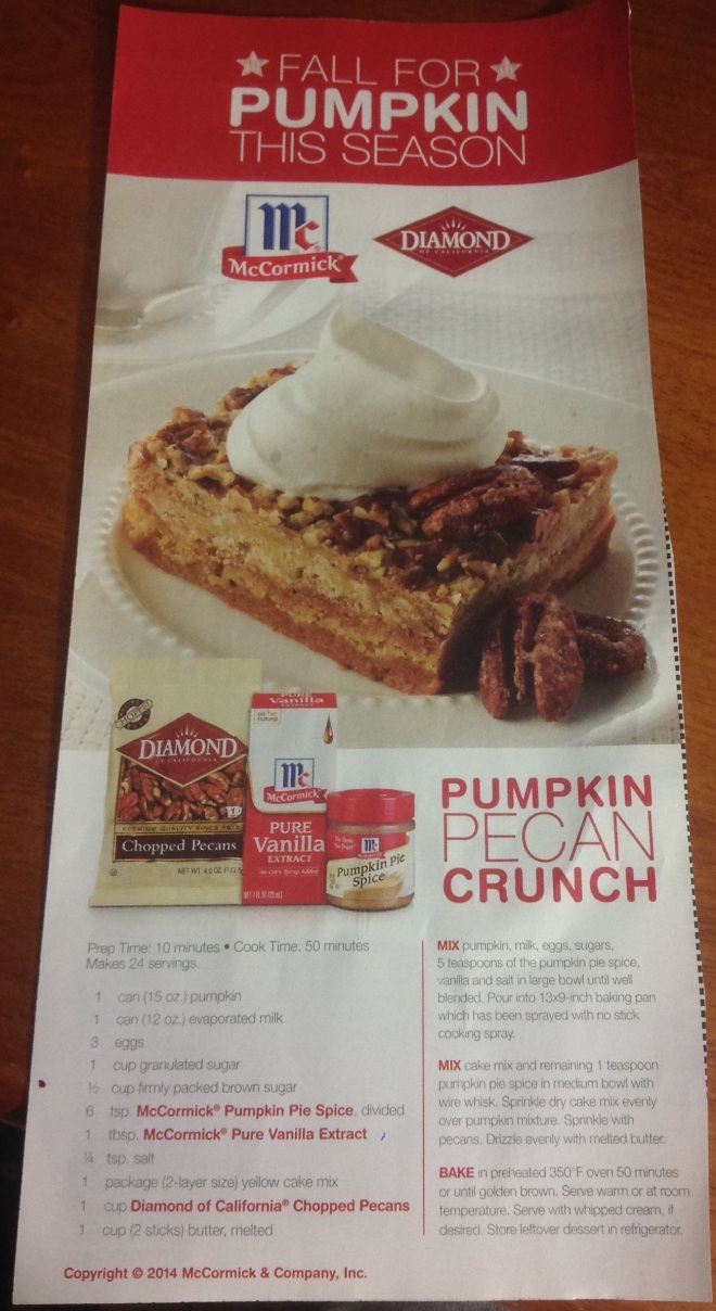 McCormick Pumpkin Pecan Crunch Recipe