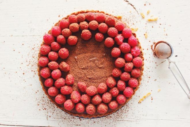 Chocolate & Fresh Raspberry Tart by Ben's Kitchen