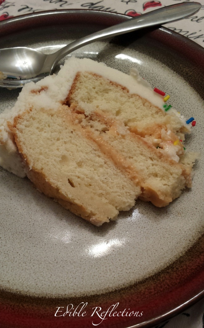 Vanilla Birthday Cake with Butterscotch Pudding Filling