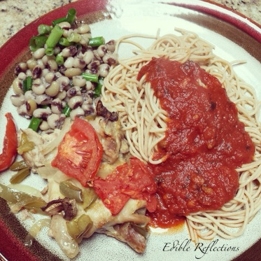Chicken veggies with angel hair pasta and black-eyed peas salad.
