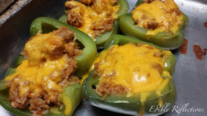 Chicken Taco Stuffed Peppers with melted cheese