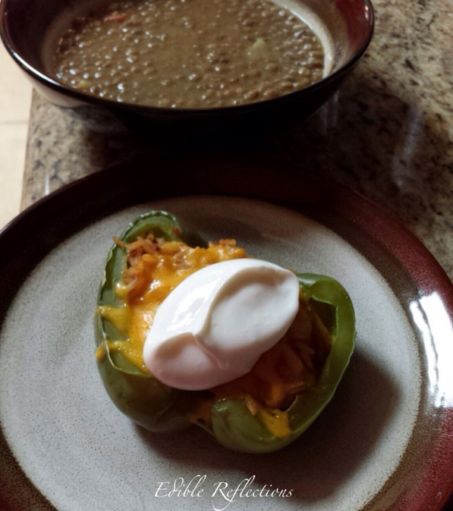 Chicken Taco Stuffed Peppers with a bit of sour cream