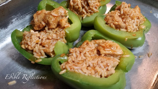 Chicken Taco Stuffed Peppers ready for the oven