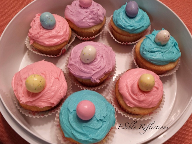 Vanilla cupcakes with vanilla buttercream and chocolate malted egg