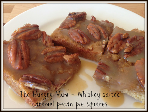 Whiskey Salted Caramel Pecan Pie Squares by The Hungry Mum