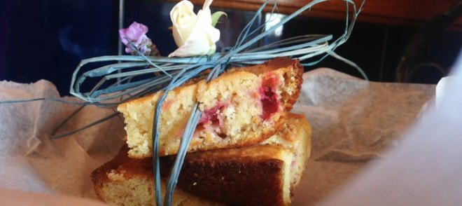 Lavender 'N Strawberry Blondies by Food Fellowship and Wine