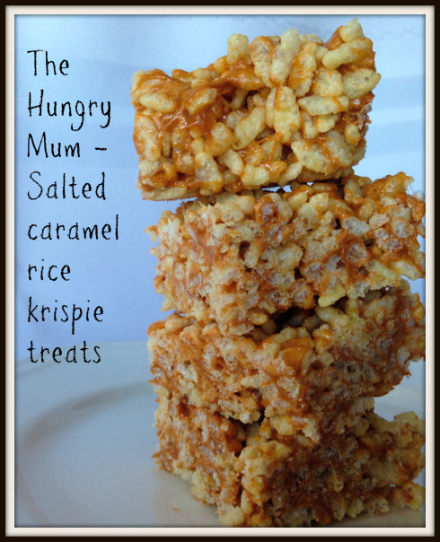 Salted Caramel Rice Crispy Squares by The Hungry Mum