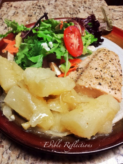 Yuca, salad greens and salmon