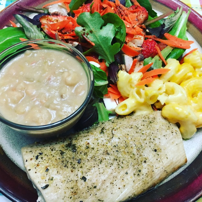 Baked dolphin, beans, mac-n-cheese and green salad