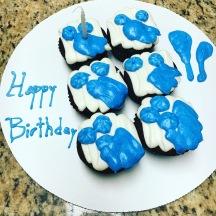 Decorated chocolate cupcakes