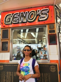 Long line at Geno's Steaks