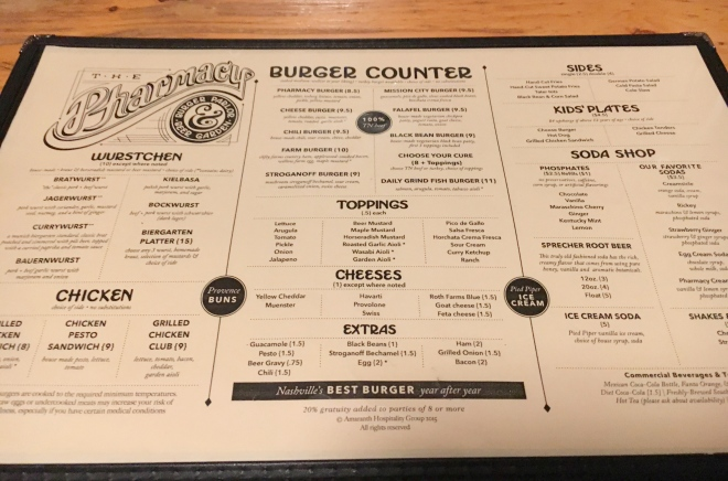 The Pharmacy Burger Parlor & Beer Garden menu