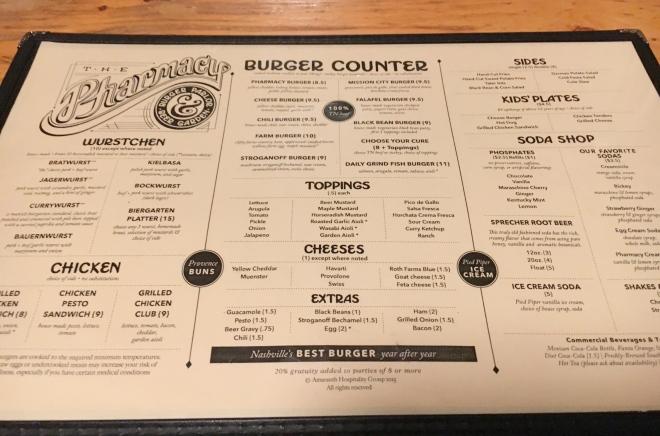 The Pharmacy Burger Parlor & Beer Garden menu