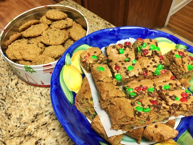 Oatmeal cranraisin cookies and M&M cookie bars
