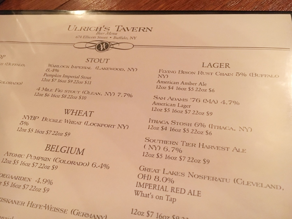 Ulrich's 1868 Tavern - menu