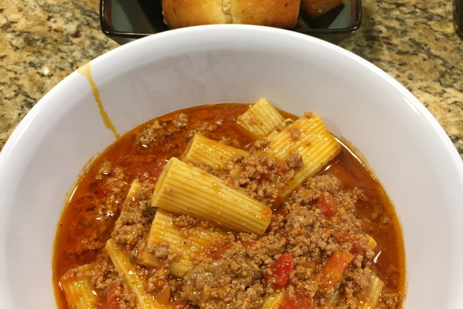 Rigatoni pasta and meat sauce